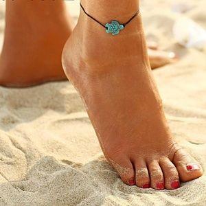 Cute turquoise turtle ankle bracelet